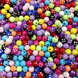Kolorowe koraliki z kryształkami - 100 sztuk