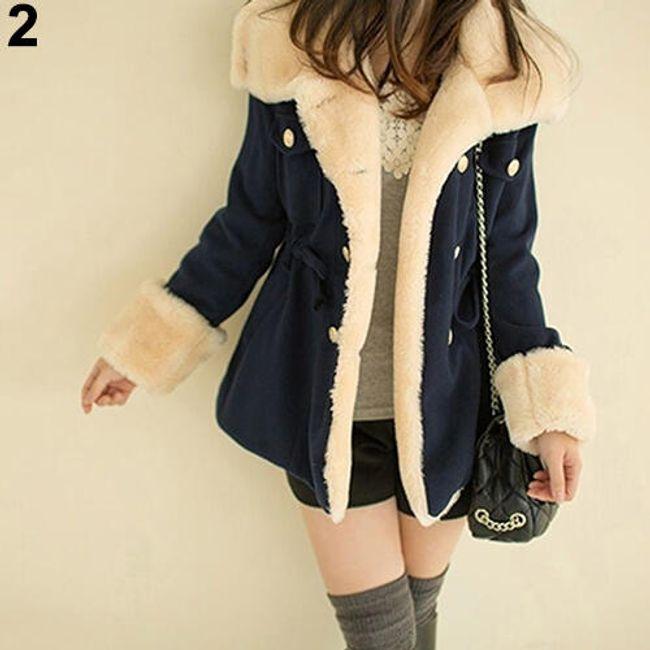 Dámský kabát s umělou kožešinou - Modrá-velikost č. 3 1