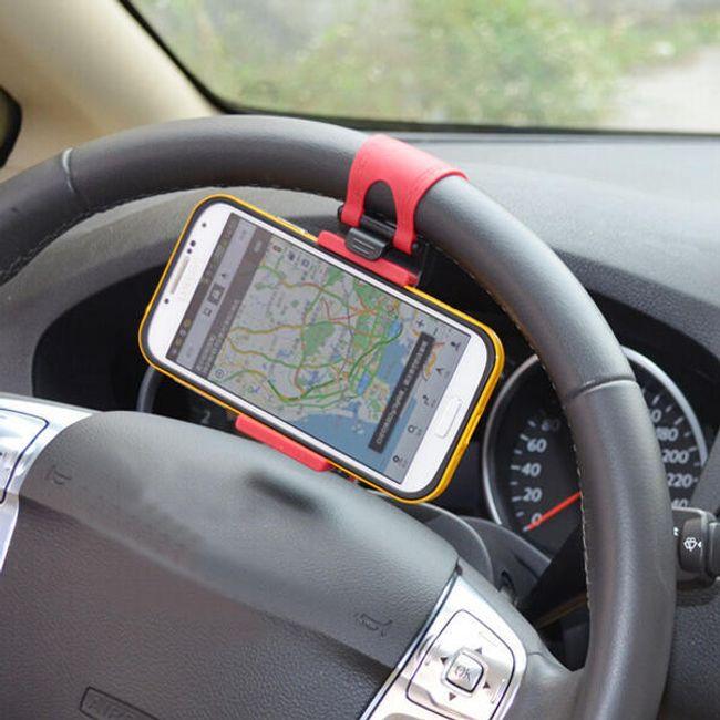 Okostelefon vagy GPS tartó autó kormányra - piros 1