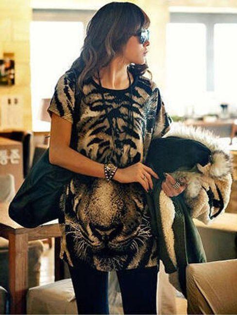 Dámské dlouhé tričko s tygrem 1