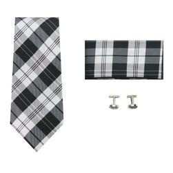 Pánská kravata s manžetovými knoflíky a kapesníkem