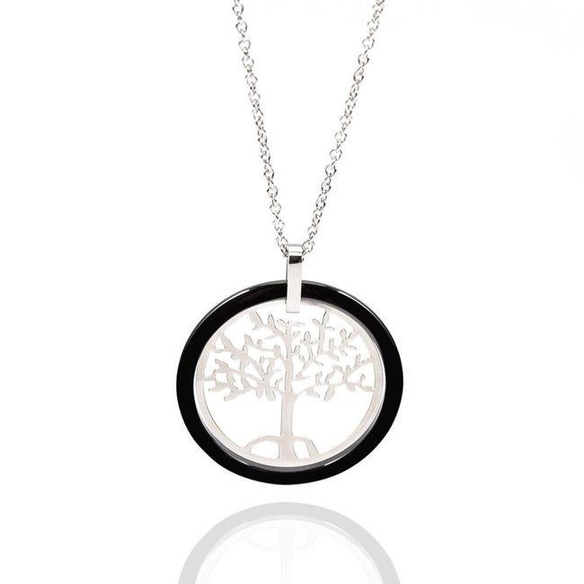 Náhrdelník se stromem života - černá a bílá barva 1
