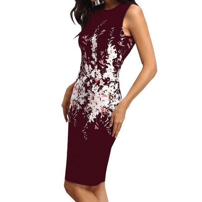 Dámské šaty bez rukávů s květinovým vzorem - Červená-velikost č. 6 1