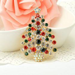Odznáček - Vánoční stromeček z umělých kamínků