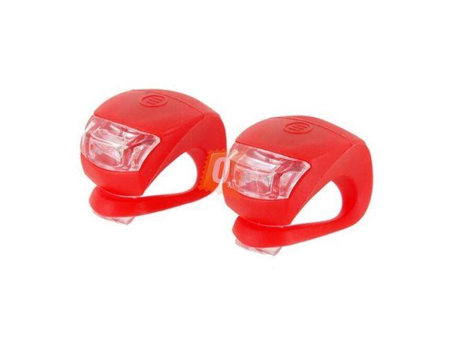 2x Zadní silikonová mini blikačka na kolo 2 LED červená 1