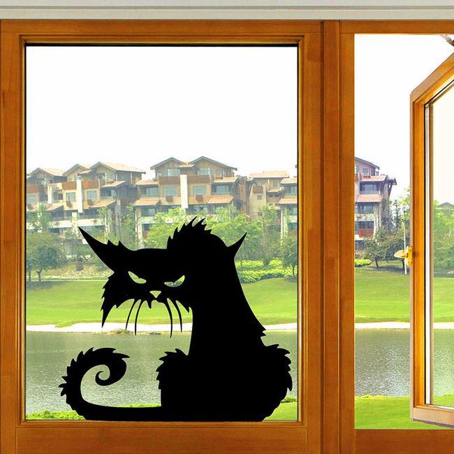 Nalepka za okno - jezna mačka 1