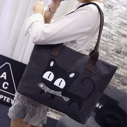 Duża torba damska z czarnym kotem