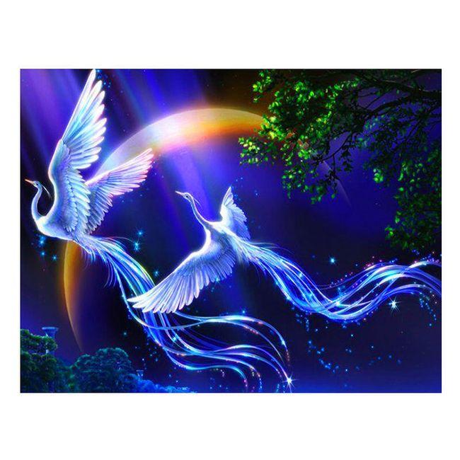 Fénixové letící nocí - mozaika z třpytivých korálků 1