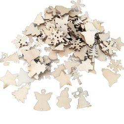 Vánoční dřevěné ozdoby - 50 kusů