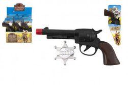 Pisztoly / Kolt csappantyú + seriff csillag cowboy műanyag 20cm kártyán 12db dobozban RM_00850415