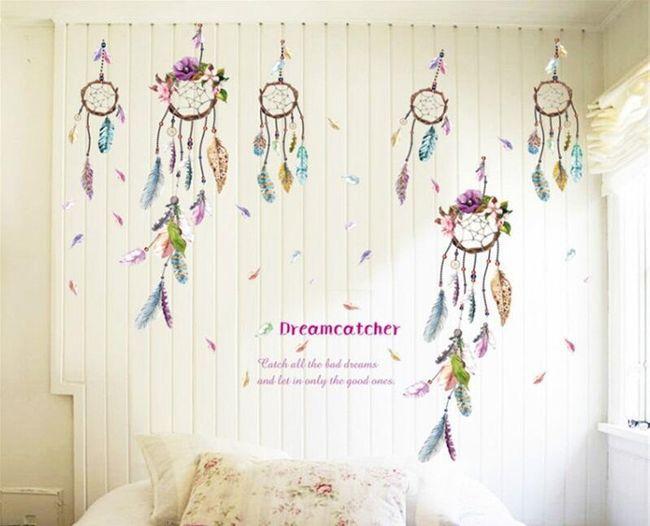 Samolepka na zeď s lapači snů nebo pírky 1