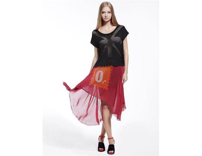 Červená šifonová sukně -  vpředu kratší 1