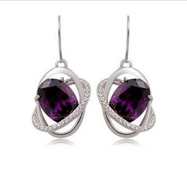 Elegantní náušnice s fialovým kamenem 1