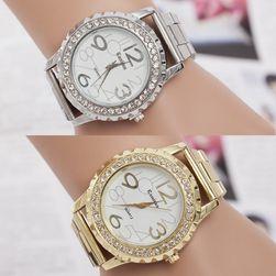 Ženski metalni sat oivičen kamenčićima - boje