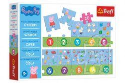 Puzzle vzdelávacie Čísla Prasiatko Peppa / modré plavky 20 dielikov 117x19,5cm v krabici 33x23x6cm RM_89015579