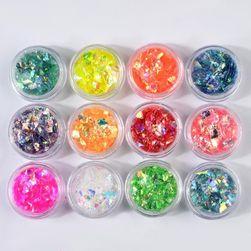 Šljokice za ukrašavanje noktiju - set od 12 boja
