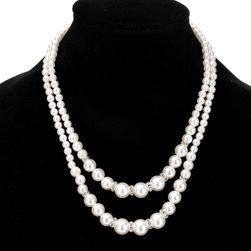 Dvouvrstvý náhrdelník z umělých perliček - 2 barvy