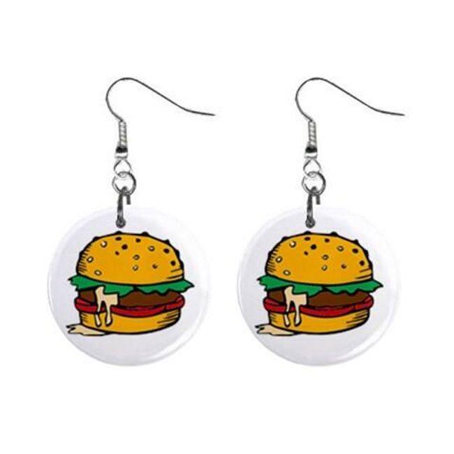 Круглые плоские серьги- Гамбургер  1