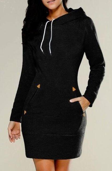 Mikinové šaty s kapucí a kapsami - Černá - velikost č. 6 1