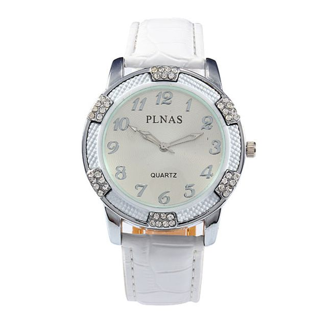 Zegarek z białym paskiem i szlifowanymi kamyczkami 1