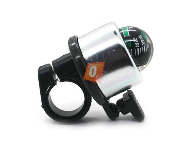 Nerezový zvonek na kolo s kompasem stříbrný 1