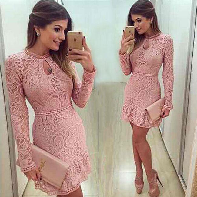 Roza obleka s čipkami 1