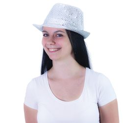 Klobouk disco stříbrný dospělý - Michael Jackson style RZ_165182