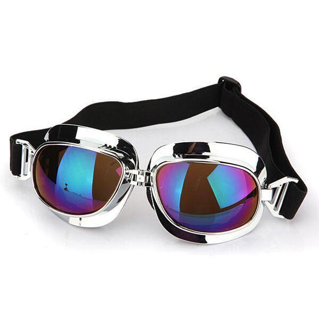 Motorkářské brýle stříbrné - barevná skla 1