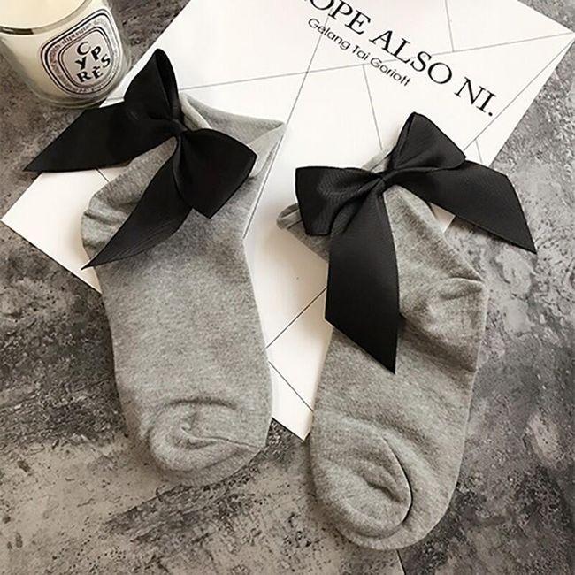 Dámské ponožky s mašlí - 14 barev 1