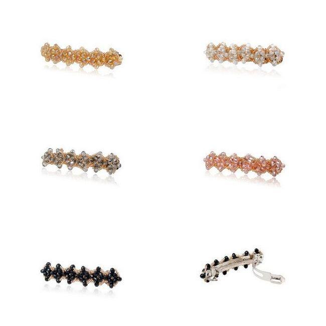 Spona do vlasů s barevnými korálky - 5 barev 1