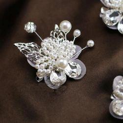 Květinová ozdoba do vlasů s umělými perličkami