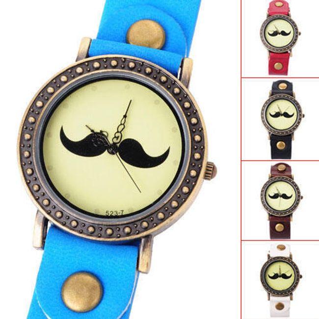 Retro hodinky s motivem knírku - na výběr z 5 barev 1