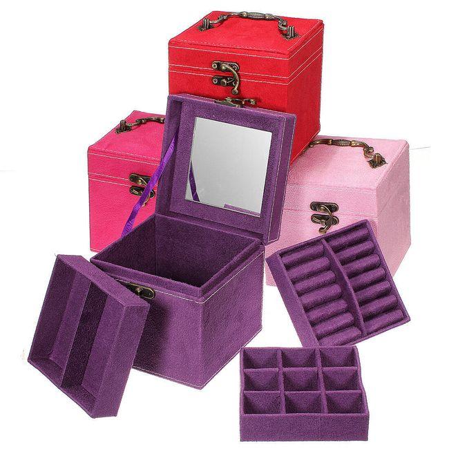 Šperkovnice se třemi patry a zrcadlem ve 4 barvách 1