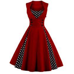 Retro šaty s puntíky - mix barev Vínová L/XL