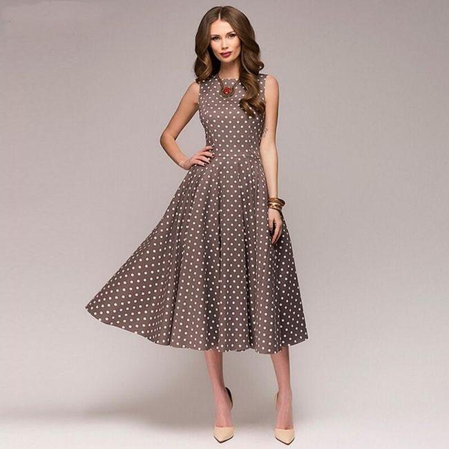 Vintage dámské šaty s puntíky - Kávová barva - velikost L 1