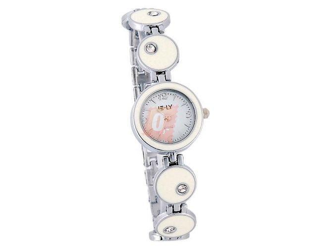 Dámské hodinky zdobené kamínky - bílé  1