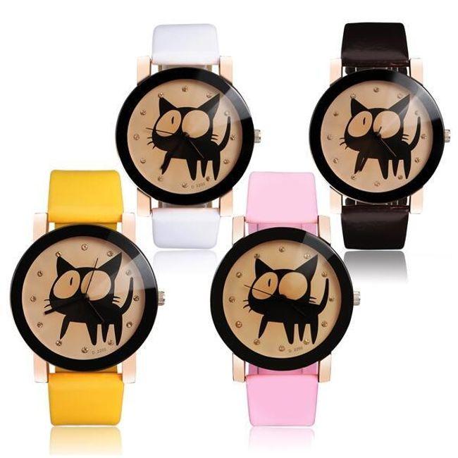 Дамски часовник с луда котка на циферблата - 4 цвята 1