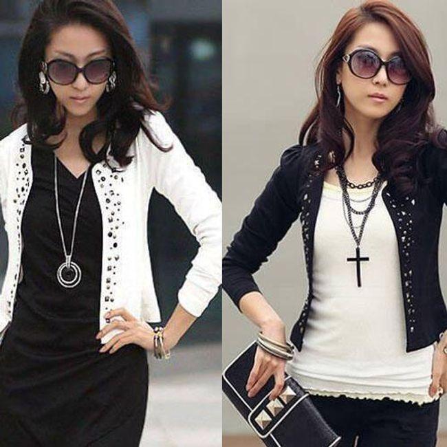 Damska krótka kurtka - kolor biały i czarny 1