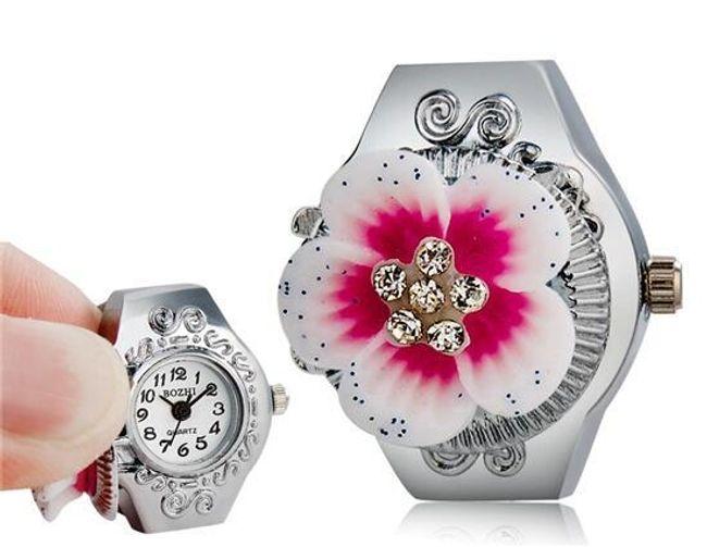 Zegarek pierścionkowy z kwiatkiem - 2 kolory 1