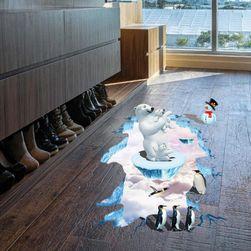 Autocolant 3D pentru podea - urși polari și pinguini