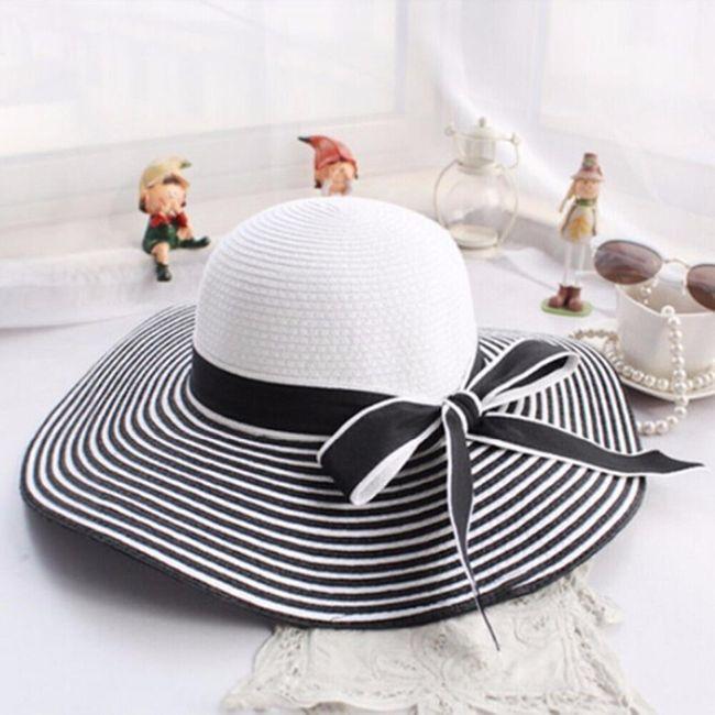 Женская полосатая шляпа с широкими полями- 2 варианта 1