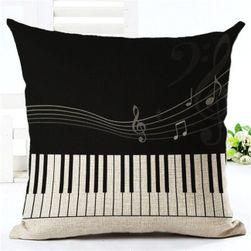 Poszewka na poduszkę 45 x 45 cm - wzór muzyczny
