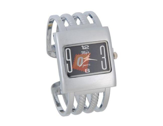 Obdélníkové dámské hodinky- stříbrná barva 1