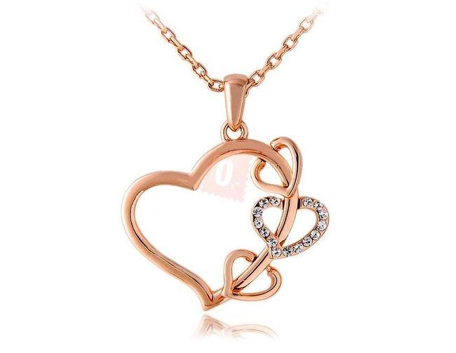 Elegantní náhrdelník se srdíčky - zlatá barva 1