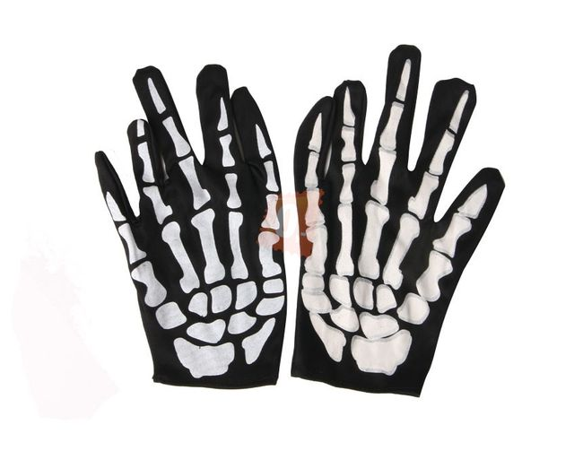 Karnevalový doplněk - rukavice s motivem kostry 1