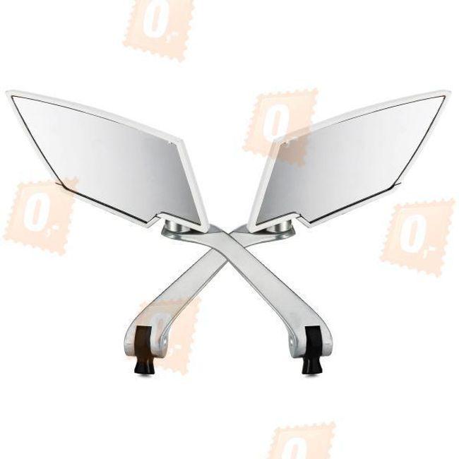 Hliníková zpětná zrcátka na motorku, univerzální - bílá(2ks) 1