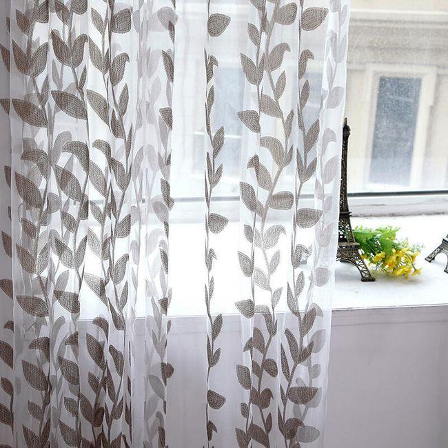 Svetle zavese z vzorcem listja - 5 barv 1
