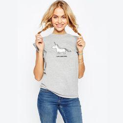 Szara koszulka z jednorożcem i napisem