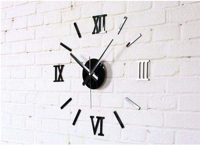Nalepovací nástěnné hodiny se zrcadlovým efektem - Černá 1