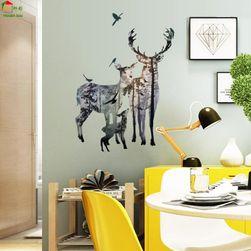 Samolepka na zeď - jelen s rodinkou